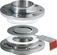 Composite bursting disc directly between flanges