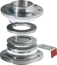Bi-directional composite bursting disc in holder with signal transmitter between flanges