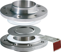 Bi-directional composite bursting disc directly between flanges