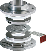Bi-directional Composite bursting disc in holder between flanges