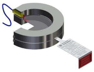 Querschnitt Signalgeber mit induktivem Näherungsschalter im Halter